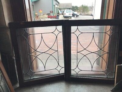 Sg 1952 Match Pair Antique Four Point Bevel Window 25 X 28.5