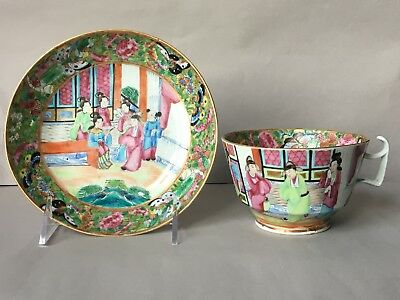 Antique 19th C Chinese Canton Porcelain Cup and Saucer
