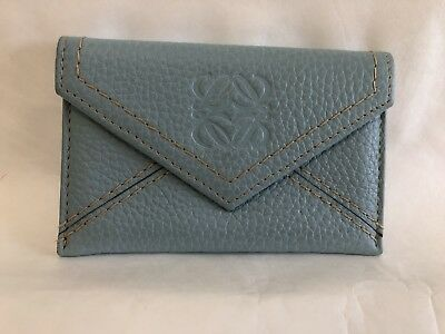 Authentic Loewe Leather Card Holder Stone Blue