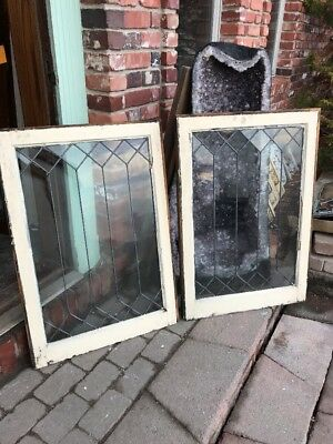 Sg 1955 Matched Pair Antique Leaded Glass Geometric Windows 24.25 X 35