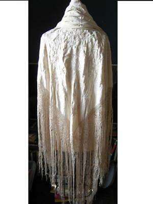 Gorgeous Antique Chinese Silk Embroidered Very Large Cream Fringed Piano Shawl