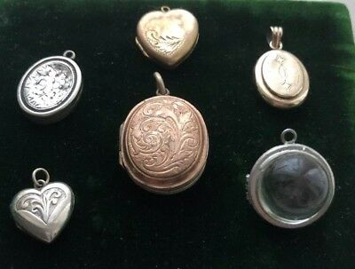 Vintage/antique Job Lot Lockets Includes Silver & ?gold, ?pools of light crystal