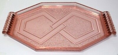 Pink French Depression Glass Art Deco Tray 1930s