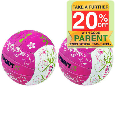 2PK Summit Liz Ellis Classic Shooter Netball Size 5 Pink/White Sport Ball Adults