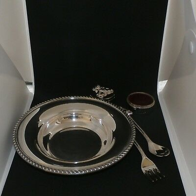 Silverplate Baby Set Including Fork, Spoon, Dish and Keepsake Boxes