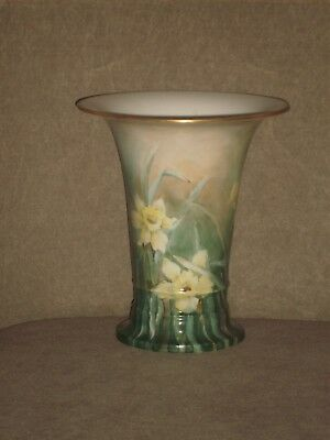 Very Rare Lenox Cac Belleek One Of A Kind Hand Painted Vase Older Cac Green Mark