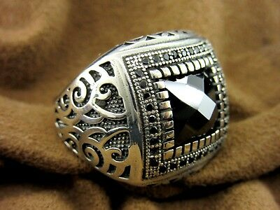 Turkish Handmade Ottoman Style 925 Sterling Silver Onyx Men's Ring Size 10.5