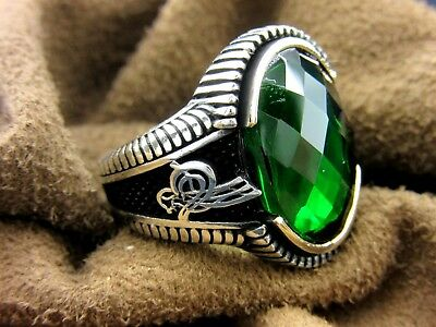 Turkish Handmade Ottoman Style 925 Sterling Silver Emerald Men's Ring Size 9