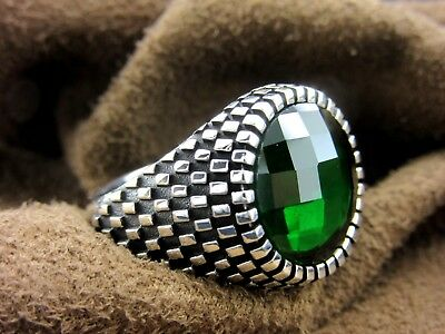 Turkish Handmade Ottoman Style 925 Sterling Silver Emerald Men's Ring Size 10.5