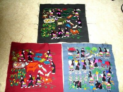 Hmong Story cloth pieces, village scene, quilt-like