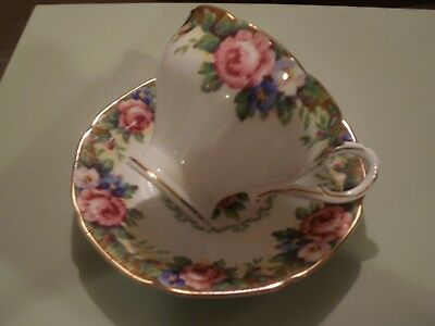 Paragon Tapestry Rose Corset Shape Cup and Saucer Double Warrant England VGUC
