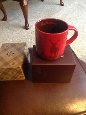 Rare NIB 2017 Tim Horton Ltd Edition Coffee Mug Red With Deer/Elk On Front &