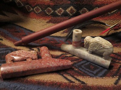 Large Native American PipeStone Ceremonial Peace Pipe with Decorated Pipe Stem