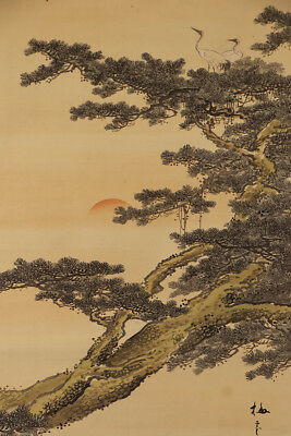 "JAPANESE HANGING SCROLL ART Painting ""Cranes on Pinetree"" Asian antique  #E9823"