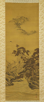 JAPANESE HANGING SCROLL ART Painting Scenery Asian antique  #E9824