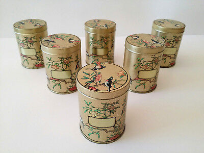 6 Vintage DoDo England Asian Floral Birds Herb Spice Canister Tin Containers