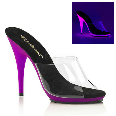 "Sexy 5"" High Heel Clear Neon Purpel Glow In the Dark Mules Stripper Posing Shoes"