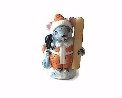Vintage Skier Miniature Mouse Figurine Russ Skier Mouse collectible mice