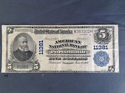 ~VF 1902 $5 American National Bank of Portsmouth Virginia VA National Currency ~