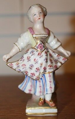 """Beautiful Antique Meissen Girl Figure Dancing Lifting Apron 4"""" Inches Tall"""