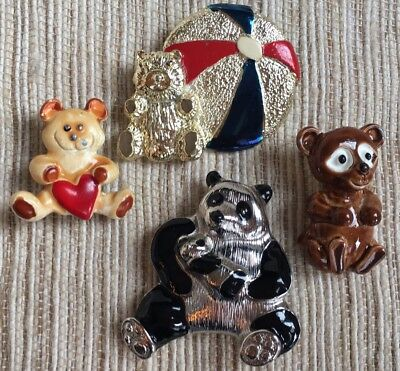 Lot Of 4 Vintage Bears/Panda Pins Brooches~ Signed LC & Gerry's~Mixed Materials