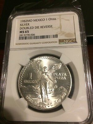 Ngc Graded Ms65  1982 Double Die Reverse Silver Libertad
