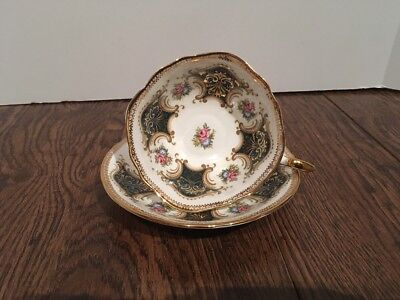 Paragon Cup And Saucer Wide Rose Square Green Gold Made In England
