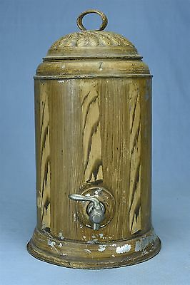 Antique VICTORIAN WATER COOLER wIth SPIGOT PAINTED FAUX BROWN WOOD DESIGN #03383