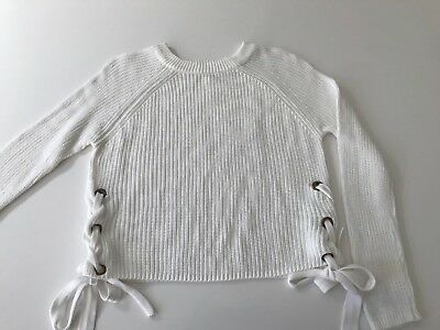 WHITE cotton knit jumper with lace up sides size 10 WORN ONCE