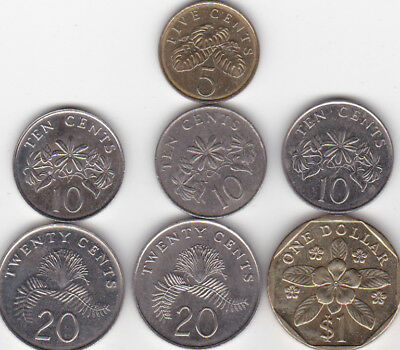 SINGAPORE COINS - Nice group including One Dollar....Great starter set