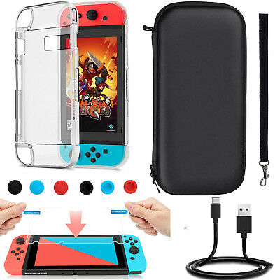Accessories Case Bag+Shell Cover+Charging Cable+Protector+Caps F Nintendo Switch