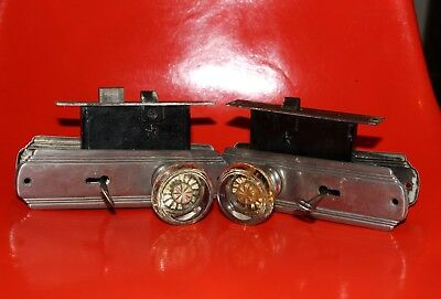 Lot Of 2 Matching Antique Glass Door Knob Sets With Matching Backplates & Locks