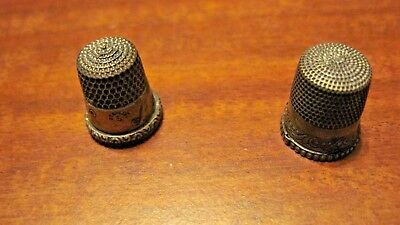 Lot Of 2 Vintage Signed Sterling Silver Thimbles Size 5 & 8 From A Local Estate