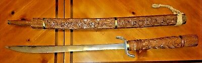 Sword Gorgeous Hand Carved Teak Wood Antique From Thailand