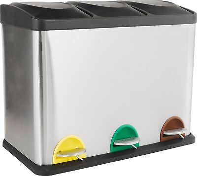HOME 45 Litre Recycling Pedal Bin with 3 Compartments :The Official Argos Store