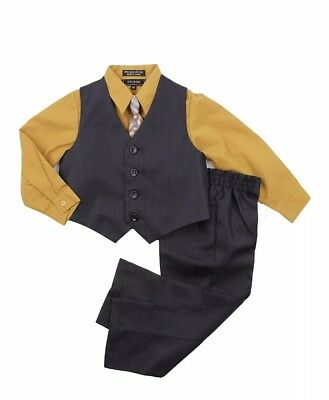 Caldore Boys Yellow shirt Vest Set outfit Size 18 month Easter suit with Tie 18M