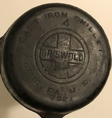 Vintage #4 Griswold Cast Iron Skillet 702 A Erie Pa USA LAYS FLAT!
