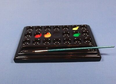 Ceramic Artist Paint Palette 20 wells & brush rest BLACK china paint palette