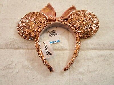 NWT Authentic Walt Disney World Disney Parks Minnie Mouse Rose Gold Ears w/Bow