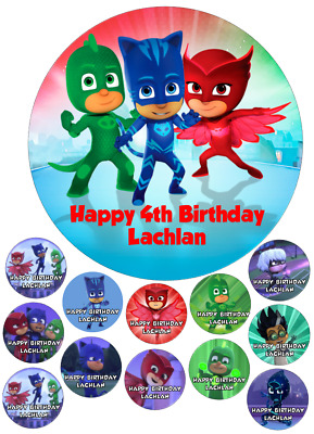 Personalised Icing PJ Masks 18cm Cake Topper plus 12 x 4cm Cupcake Toppers