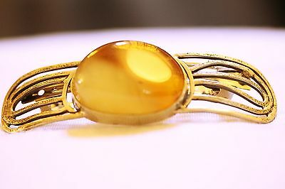 Sterling 925 Silver Amber Hair Clip Handmade by Polish Silversmith New 29.29 g