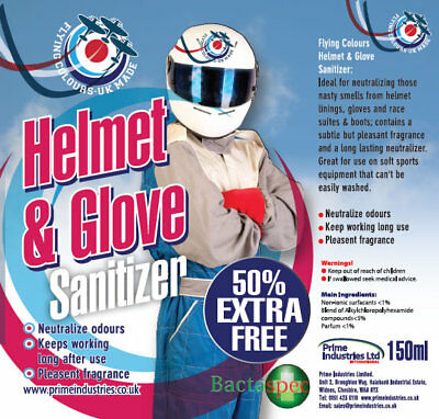 Helmet & Glove sanitizer and odour eliminator - 150ml for the price of 100ml