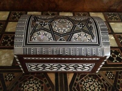 Antique Wooden Box With Mother Of Pearl & Camel Bone