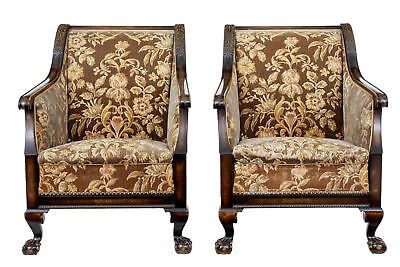 Elegant Pair Of Art Deco Carved Birch Armchairs