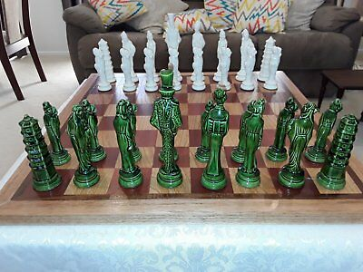 Vintage Porcelain Chess Set With Wooden Board