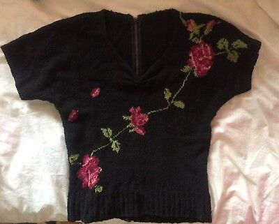Vintage 1940s Black Boucle Knit Pink Climbing Rose Sweater