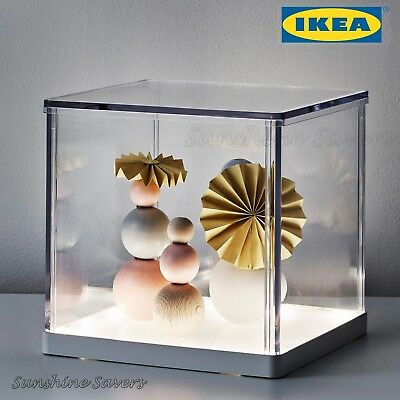 Ikea synas clear model showcase led light display box show for Ikea display box