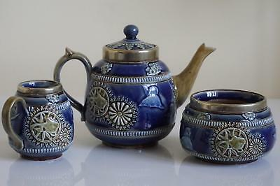 Superb Doulton Lambeth Tea Set - Chinese Theme - Relief Decoration - c.1885