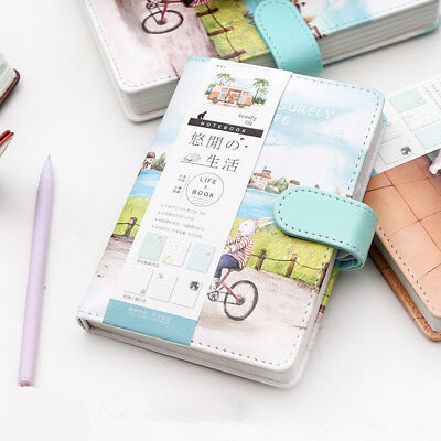 """""""Leisurely Life"""" 1pc Faux Leather Diary Blank Lined Journal Beautiful Notebook"""