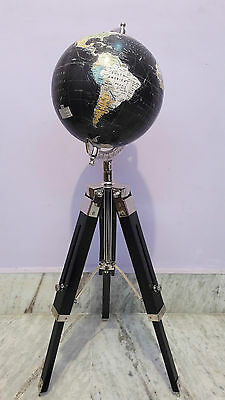 World Globe With Wooden Tripod Stand Antique